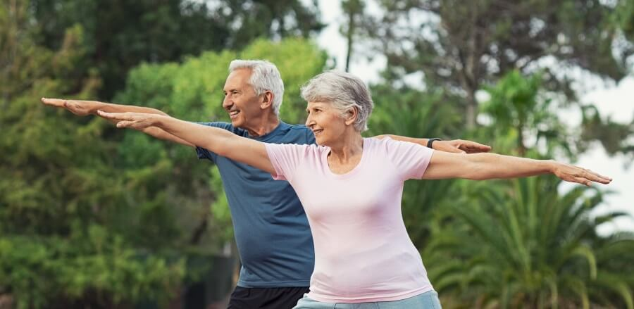 Adults and seniors exercising