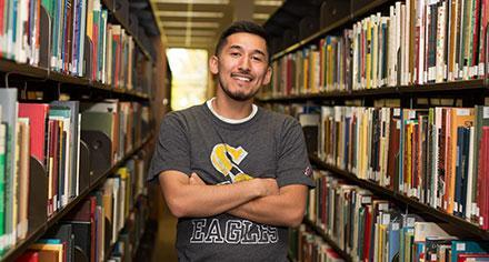 College student in the library