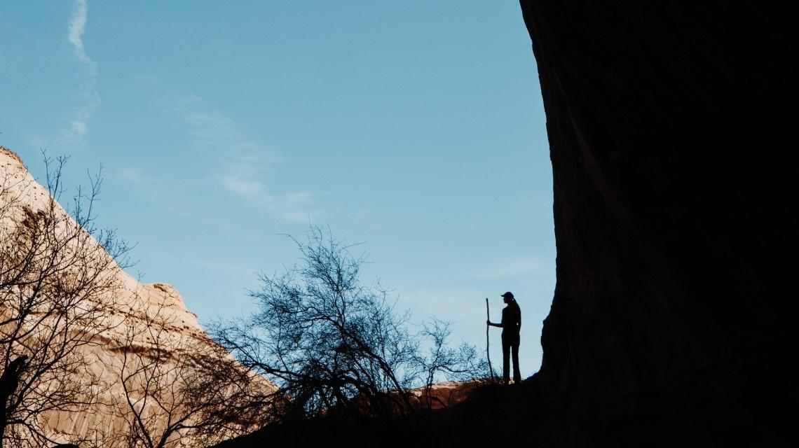 girl silhouette in canyon