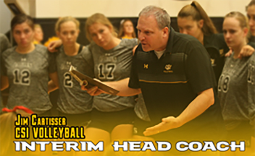 Jim Cartisser CSI Volleyball - Interim Head Coach - on the court with the team